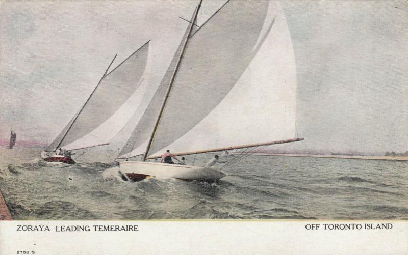 TORONTO, Ontario , 1906 ; Sailboat Race ; Zoraya leading Temeraire