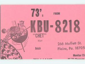 comic - QSL CB HAM RADIO CARD Plains Pennsylvania PA t9145