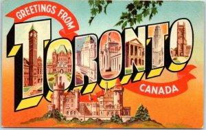 TORONTO Canada Large Letter Postcard Multi-View Valentine's c1940s Unused