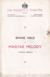 Magyar Melody 1939 WW2 Binnie Hale His Majestys Theatre Programme