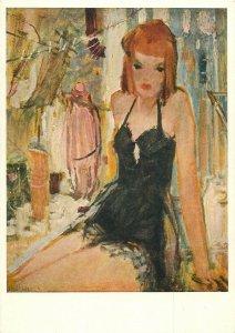 Risque art postcard Heller circus lady
