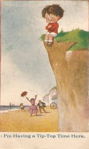 Little boy.I'm having a Tip-Top time here Humorous vintage English postcard