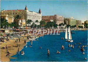 Modern Postcard Cannes Croisette Beach and the Great Charter Hotels