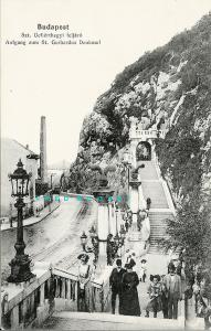 1909 Budapest Hungary Postcard: People On Stairway to Saint Gerard's Statue