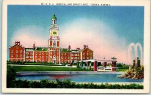 Topeka, Kansas Postcard S.B.A. HOSPITAL and Beauty Spot Metrocraft Linen 1940s