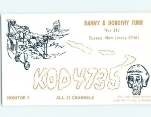 Pre-1980 RADIO CARD - CB HAM OR QSL Sussex - Near Wantage & Montague NJ AH0812