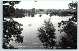 VTG Postcard RPPC Real Photo Irish Hills MI Iron Lake Fishing Arial View A5