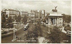 Postcard England London Hyde Park Corner tramway city aspect Wellington Arch
