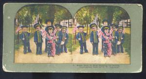 MANILA PHILIPPINES PATRIOTIC CHILDREN IN COSTUME VINTAGE STEREOVIEW CARD