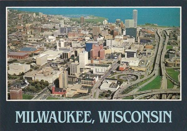 Wisconsin Milwaukee Aerial View Of Downtown