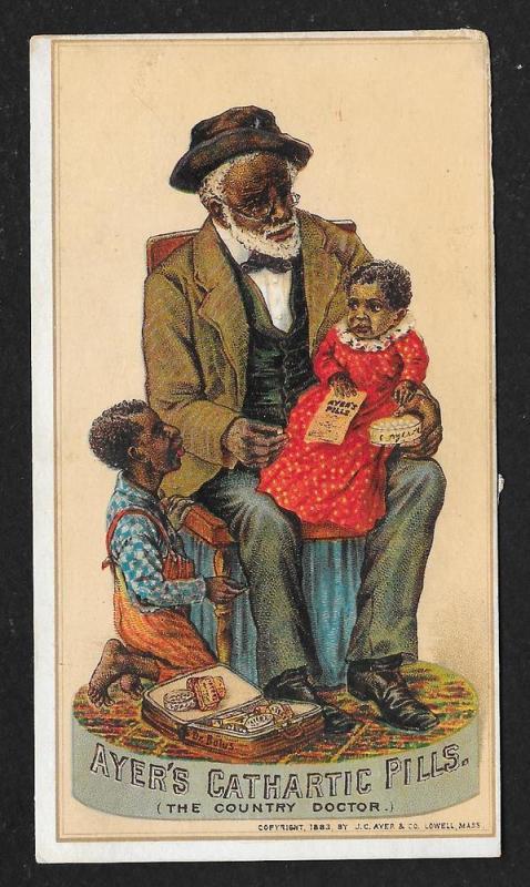 VICTORIAN TRADE CARD Ayer's Cathartic Pills Blacks