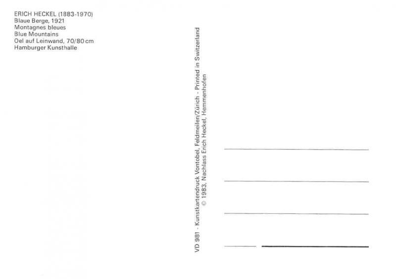 Erich Heckel, Blaue Berge, Blue Mountains Montagnes Bleues Postcard