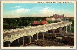 1940 SPRINGFIELD, Missouri Linen Postcard Benton & Kimbrough Ave. Viaduct