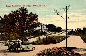 Missouri Kansas City Paseo North From 12th Street 1913