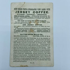 Jersey Coffee Dayton Spice Mills Co Ohio OH Lincoln Statue Union Ny Trade Card