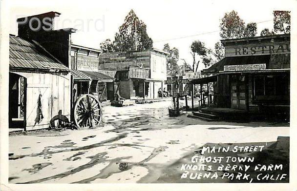 CA, Buena Park, California, Knott  Berry Farm, Ghost Town, Main Street, RPPC