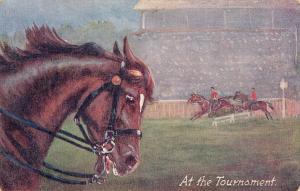 Early postcard horse horses tournament jockeys Raphael Tuck chargers series
