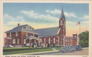 DICKEYVILLE, Wisconsin, 1930-1940´s; House, Church And School, Classic Cars