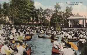 Michigan Detroit Canal Scene Belle Isle Curteich
