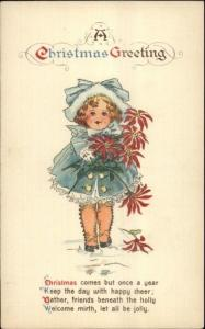 Christmas Poem - Little Girl w/ Poinsettia Flowers c1910 Postcard
