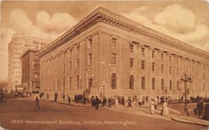 Seattle Washington~Government Building~People on Sidewalk & Crossing Street~1910