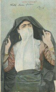 Ethnic type Postcard Turkish woman folk costume