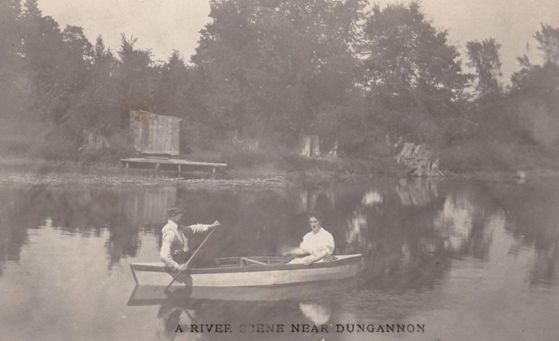 RP: DUNGANNON , Ontario , Canada , 1908 ; Couple in boat , River