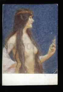 135509 Semi-NUDE Female SLAVE Harem BELLY DANCER Vintage PC