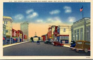 North Carolina Fayetteville Hay Street Looking Towards Old Market House Post ...