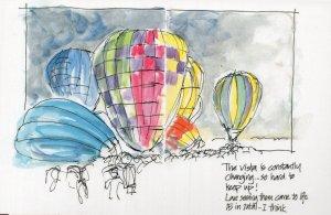 Australia Day Hot Air Balloon Sydney Fete Festival Painting Postcard
