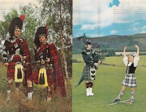 Children Pipers 2x 1970s Scottish Postcard s