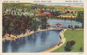 Scene along Lake, Willow Grove Park, WILLOW GROVE, Pennsylvania, 30-40s