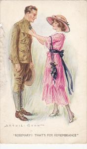 Young Woman with Soldier Rosemary! That's For Remembrance