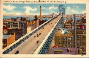 Delaware River Bridge Linen Connecting Philadelphia and Camden NJ PC POSTCARD