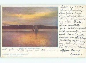 Pre-1907 LAKE WINNIPESAUKEE SUNSET Meredith New Hampshire NH AE5443
