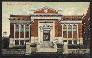 Public Library Zanesville Ohio Unused c1908
