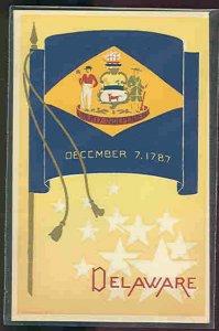 pc10806 postcard State Flag Original Serigraph MOBSC Hand Made Delaware
