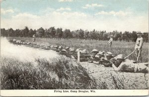 Camp Douglas WI~Shooting @ Toy Soldier Prone Position~Firing Line~c1914 WWI-Era