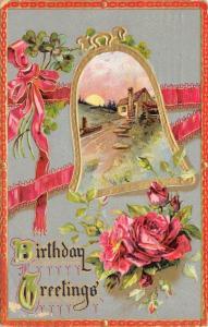 Red Roses & Ribbon~Bell Portal Fram Country Cottage~Red Gold~TUCK BD Ser 201