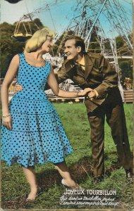 Postcard Romantic couple lover costume joy glam smile coiffure amusement park
