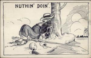 Fishing Drunk Passed Out Alcoholism c1910 Comic Postcard