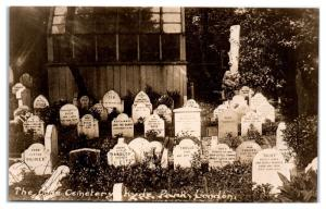 RPPC The Dogs Cemetery, Headstones, Hyde Park, London, UK Postcard