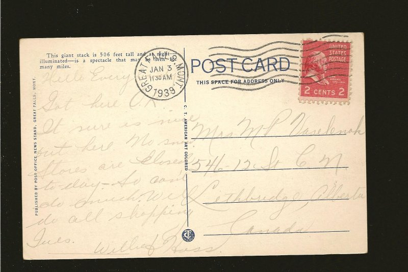 USA Postmark 1939 Great Falls Mont Big Stack at Night Great Falls Postcard