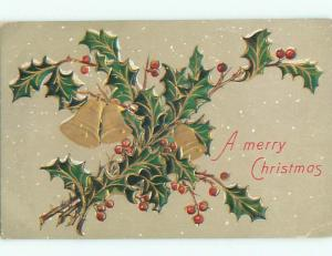 Pre-Linen christmas GOLDEN BELLS WITH HOLLY J1865