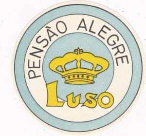 Portugal Luso Pensao Alegre Vintage Luggage Label sk2371