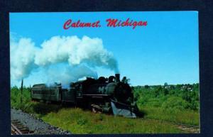 MI Keweenaw Central Steam Railroad Train Calumet Michigan RR Postcard PC