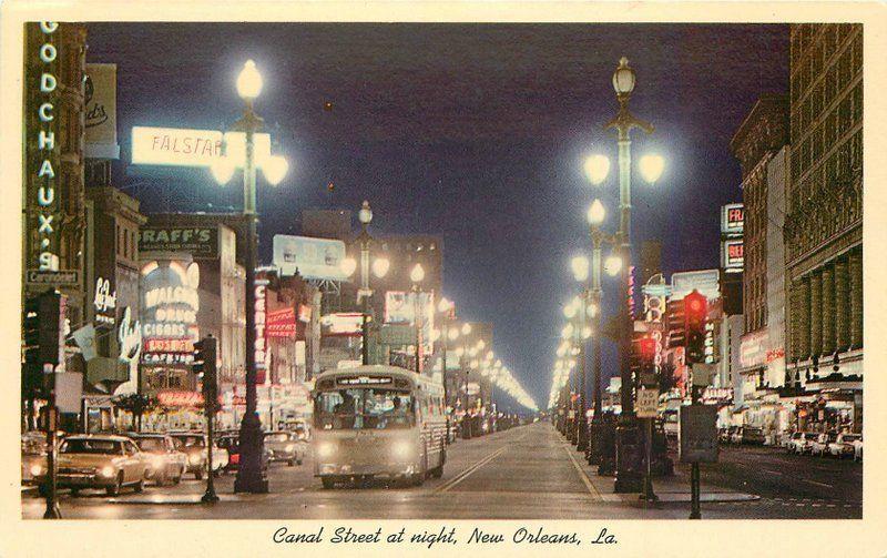 Autos Bus Canal Street New Orleans Louisiana 1950s Night Neon postcard 11405