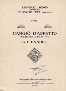 Handel Cangio D'Aspetto My Heart Is Beating Classical Sheet Music