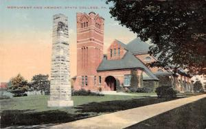 State College Pennsylvania Monument And Armory Antique Postcard K31270