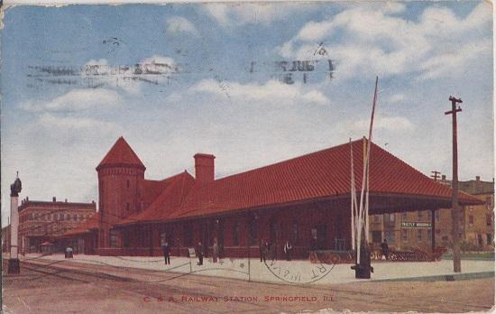 SPRINGFIELD ILLINOIS /  Chicago & Alton RAILROAD STATION 1909